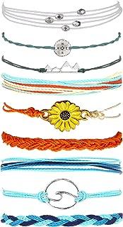 3 Sets Wave Bracelet for Women Braided Rope Handmade Sunflower Bracelet Adjustable Friendship String Waterproof Bracelet for Girls