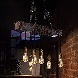 ZMH Lámpara colgante vintage de 6 luces de madera, lámpara de techo de comedor, lámpara de 80 cm, vigas de madera E27, industrial para comedor, cocina, bar, restaurante