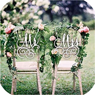 Mr and Mrs Bride and Groom Chair Sign for Wedding Rustic Wedding Wreath Party Table Decor Wedding Photo Props Gift,Mirror Silver,25CM