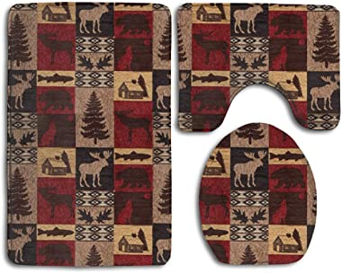 caldocaey Non Slip 3 Piece Lodge Bear Deer Fish Non Slip Bathroom Rug Set Bath Mat + Contour Rug + Toilet Lid Cover
