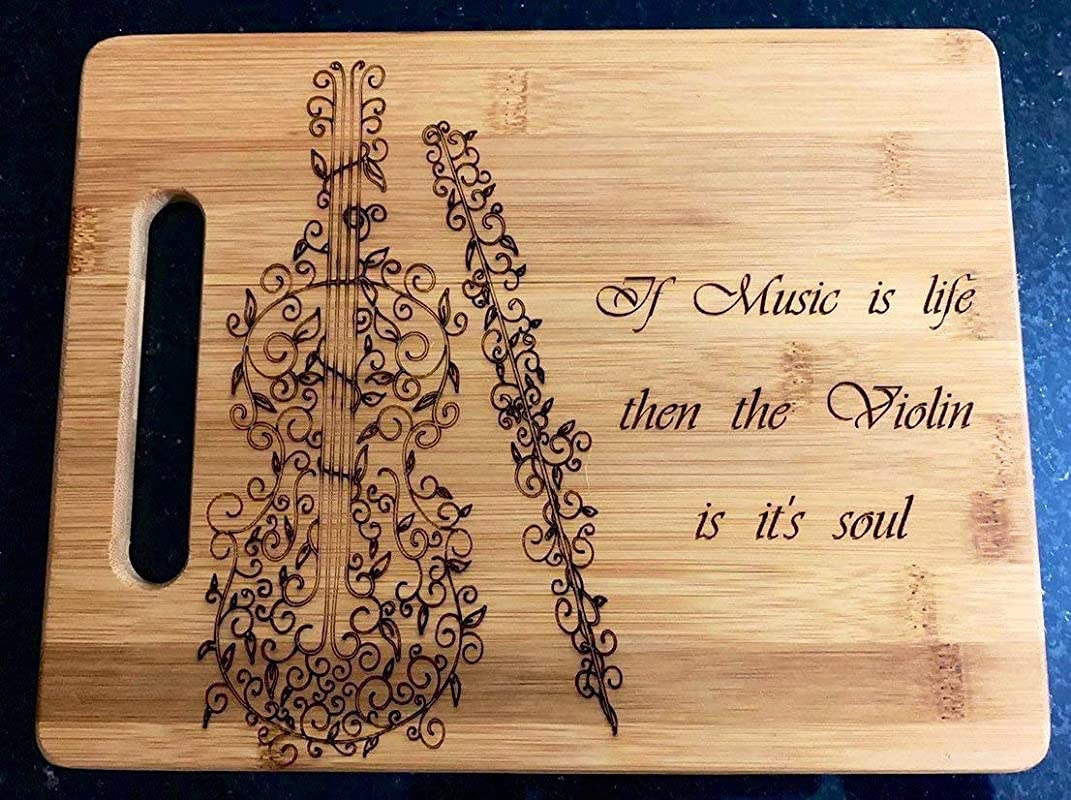 Personalized Cutting Board Mothers Day Gift Music Meacher Gift Violin Wedding Gift Anniversary Gift 9x6 Bamboo07