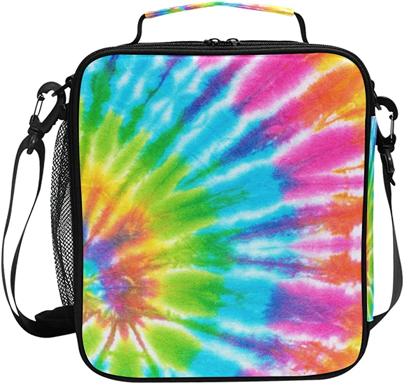 TropicalLife Lunch Bag Insulated Tie Dye Rainbow Meal Prep Lunchbox Reusable Cooler Lunch Tote Bag Handbag With Shoulder Strap For Adult Men Women Kids Unisex