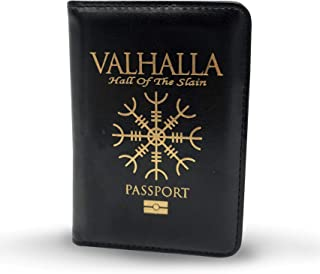 Viking Lair Passport Cover & Holder - RFID Blocking Leather ID Card Wallet - Waterproof, Compact & Lightweight Travel Case For Men & Women - Fraud Protection Security - Gold Leaf Printing - (Valhalla)