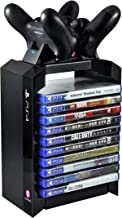 Numskull - PS4 Games Tower & Dual Charger for Dualshock 4 Controller / Gamepad / Joystick - Stores 10 Games - For Sony Pla...