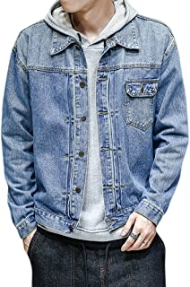 YFFUSHI デニムジャケット ジージャン メンズ M-5L 長袖 刺繍 ゆったり 水洗 ダメージ カジュアル スリム 春 夏 秋 大きいサイズ 合わせやすい gジャン