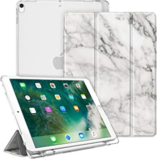 """Fintie Case for iPad Air 10.5"""" (3rd Gen) 2019 / iPad Pro 10.5"""" 2017- Lightweight Slim Shell Standing Cover with Translucent Frosted Back Cover with Pencil Holder, Auto Wake/Sleep, Marble White"""