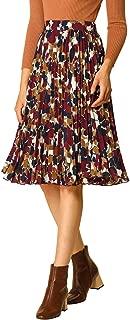 Allegra K Women's Floral Zip Closure Accordion Pleated A-Line Skirt