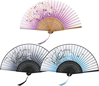 KATOOM 3er Stoff Fächer Japanischer Handfächer Klein Bambus Faltfächer Handheld Damenfächer Wandfächer für Handtasche Sommer Hochzeit Party Karneval Kostüm Theater Gastgeschenk