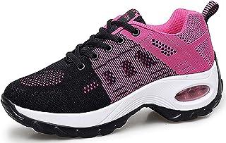 Chaussures de Course pour Femmes Chaussures de Running Mode Baskets Respirantes en Mesh athlétique léger Chaussures compen...
