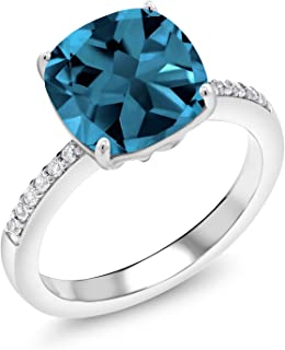 Gem Stone King 925 Sterling Silver London Blue Topaz Women's Engagement Ring 4.47 Cttw Cushion Cut Gemstone Birthstone Available 5,6,7,8,