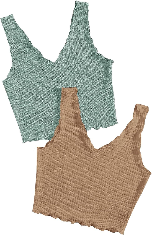 SheIn Women's 2 Piece Sleeveless V Neck Lettuce Trim Rib Knit Crop Tank Top