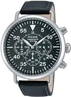 PULSAR MEN'S 44MM CHRONOGRAPH BLACK LEATHER STAINLESS STEEL CASE WATCH PT3477