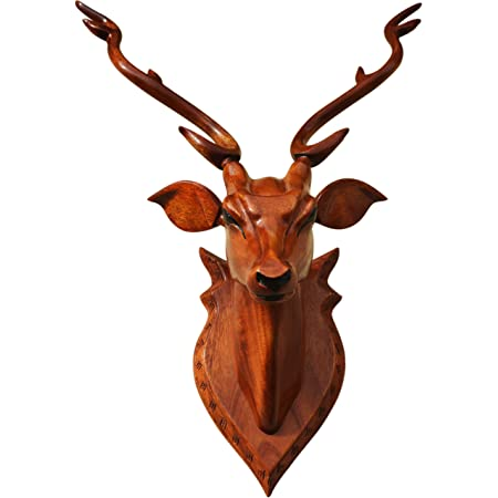 """BK ART & CRAFTS®-Home Decor Item """"Deer Head""""50 cm high with Horn – Wooden Handicraft showpieces Product for Wall Decoration. Make Your Home and Office, Attractive and Different."""