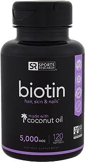 Biotin ビオチン(高効力)強化されたココナッツオイルが髪の成長、輝く肌と強い爪 5000mcg 120錠 並行輸入品