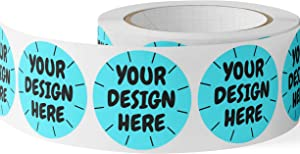 CustomBrandWare 150 Custom Circle Sticker BOPP Labels, Gloss/Matte Custom Sticker, Any Text + Image, Your Logo Design is Printed on (2 inch Circle)