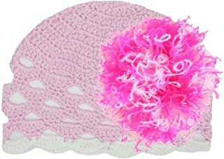 Jamie Rae Hats Pale Pink Scalloped Crochet Hat with Pink Raspberry Large Curly Marabou, Size: 12-18m