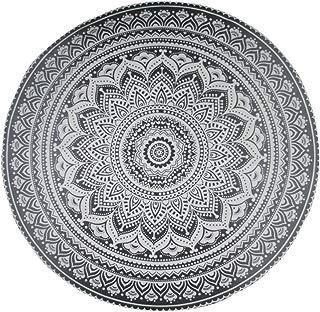 "Jaipur Handloom Round Beach Tapestry Hippie/Boho Mandala Beach Blanket/Indian Cotton Throw Bohemian Round Table Cloth Mandala Decor/Yoga Mat Meditation Picnic Rugs Circle (Grey, Roundie 70"")"