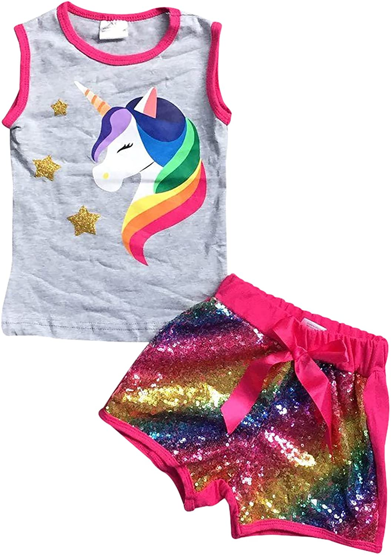 Little Girls 2 Pieces Short Set Outlet SALE Max 87% OFF Glitter Shor Tops Floral Unicorn
