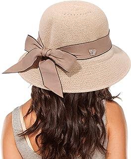 قبعة شمس من القش للنساء، حافة عريضة مرنة، إكسسوارات للشاطئ، قابلة للطي، قبعة بعقدة شريطية