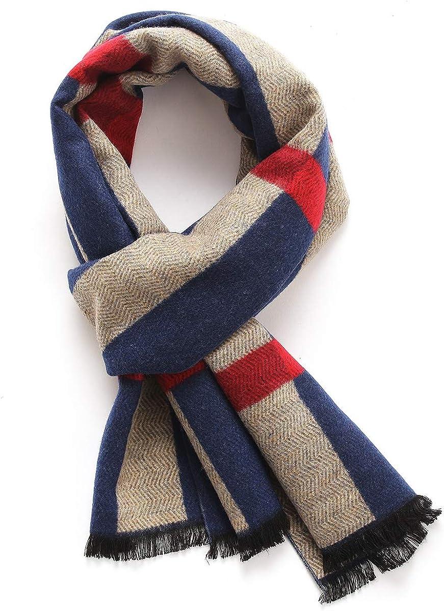 Lusm Men's Lightweight Wool Scarf Cashmere Feeling Winter Fashion Classic Plaid/Striped Long Warm Scarves