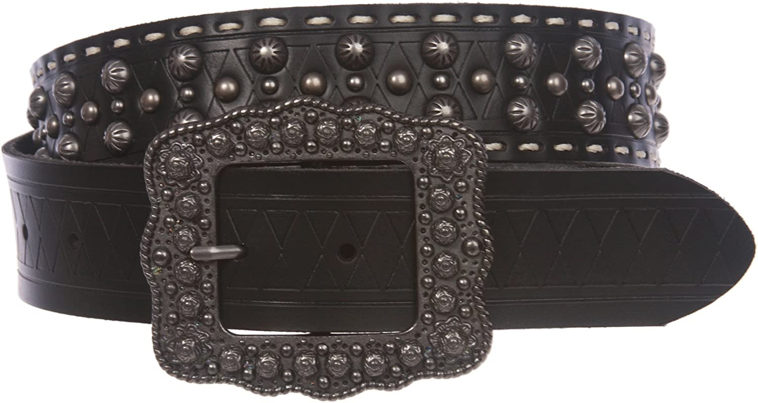 1 1 2 '' Womens Western Snap On Studded Leather Belt