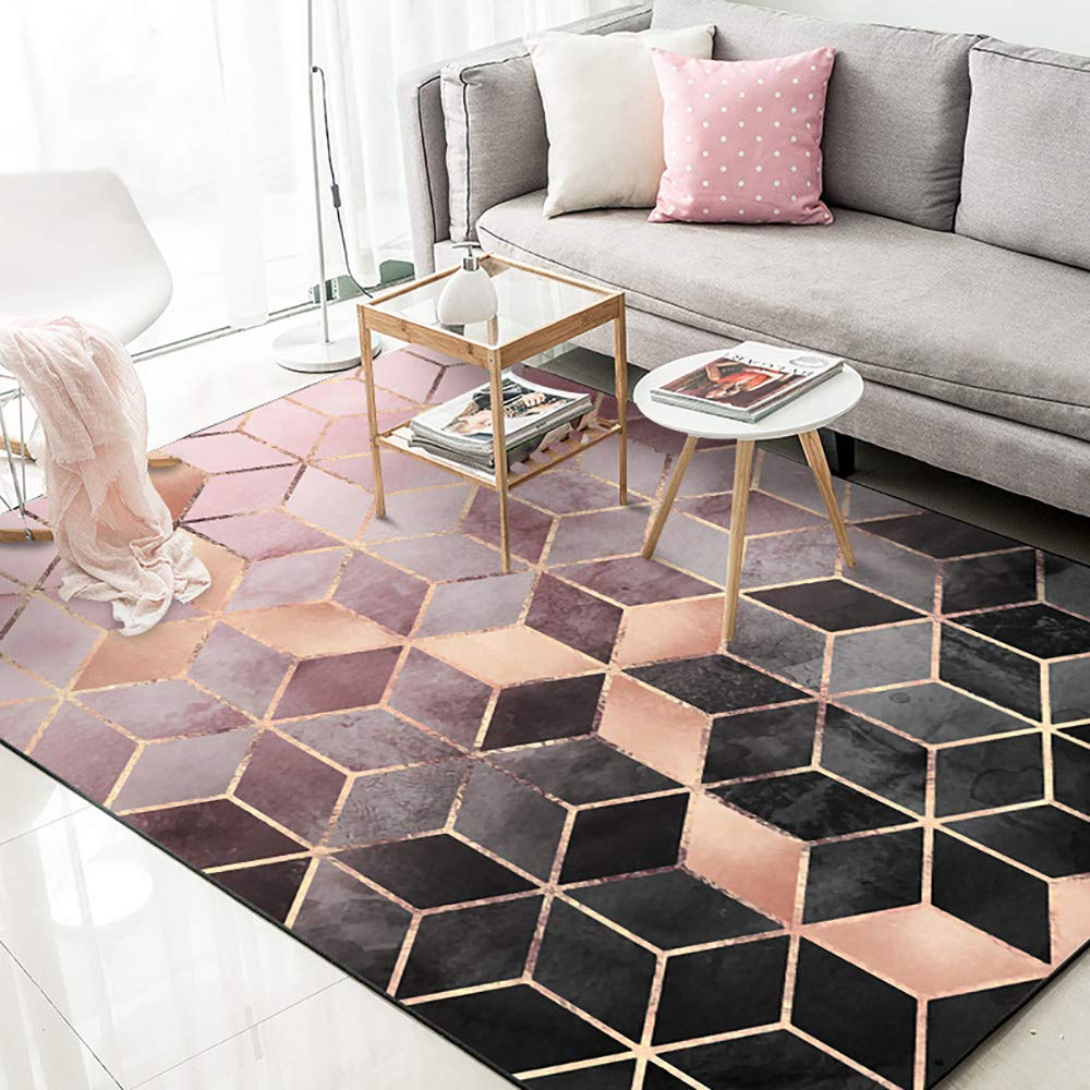 Fashion Europe And America Carpet Home Decoration Rose Gold Pink Gradient Diamond Plaid Bedroom Door Living Room Mat Carpet Custom Pink 5 X8 Home Kitchen