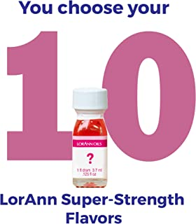 LorAnn Super Strength flavors 10 pack of 1 dram bottles (.0125 fl oz - 3.7ml) YOU CHOOSE THE FLAVORS Plus a 1 dram dropper
