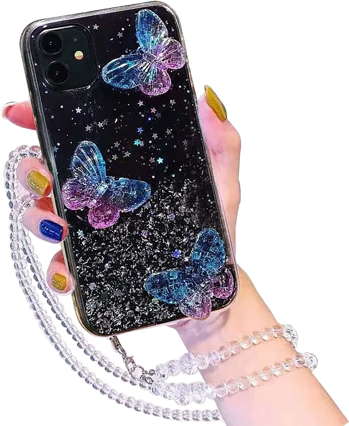 Herzzer Glitter Case for Samsung Galaxy A02S,Cute Crystal Beauty Aesthetic Butterfly Shiny Stars Transparent Shockproof Soft TPU Bumper Bling Case with Crossbody Strap Neck Lanyard - Black