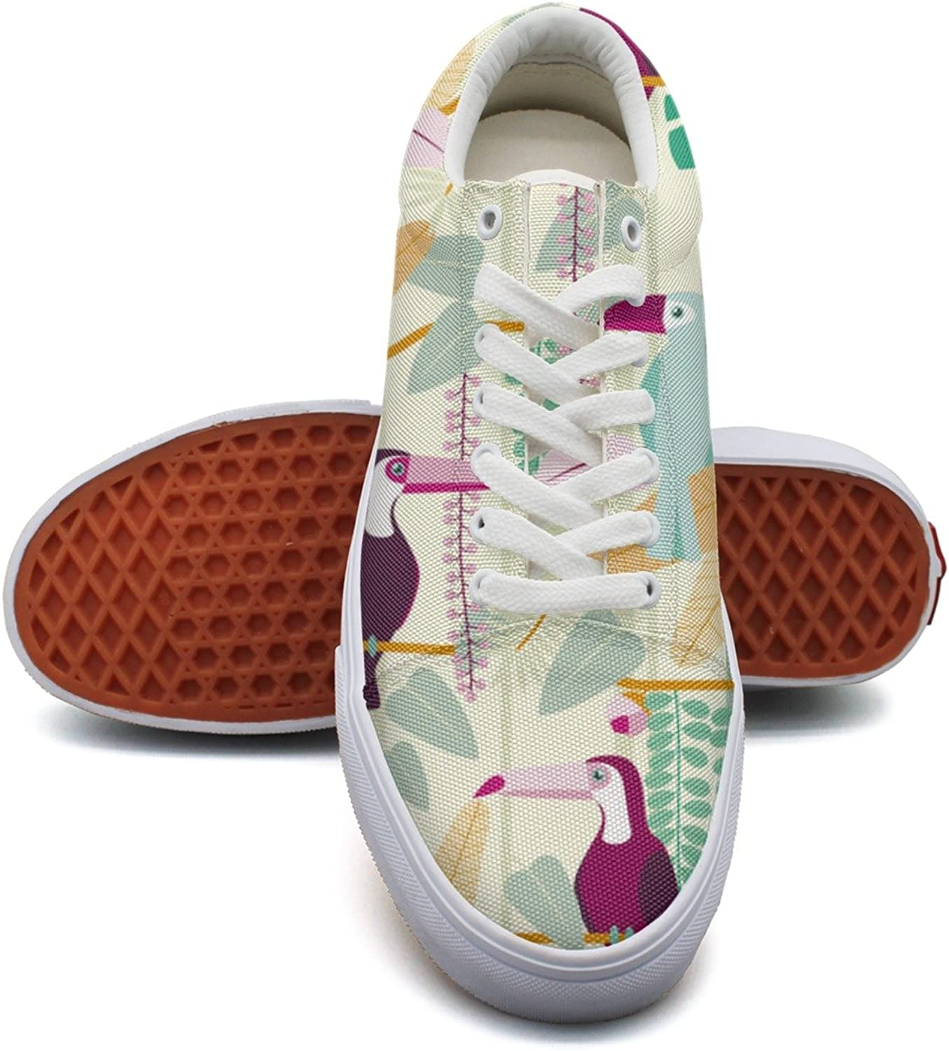 Feenfling Tropical Toucan Jungle Birds Leaves Womens Denim Canvas Sneakers Low Top Popular Basketball Sneakers for Women