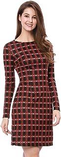 Vestido De Tela Escocesa De Trabajo De Negocios Mangas Largas para Mujeres