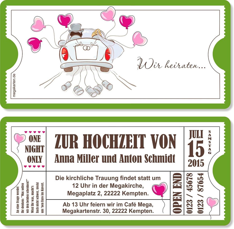 Einladungskarten zur Hochzeit mit Abriss-Coupon, Auto 100 Stück B00WQ3PW4I   Outlet Online