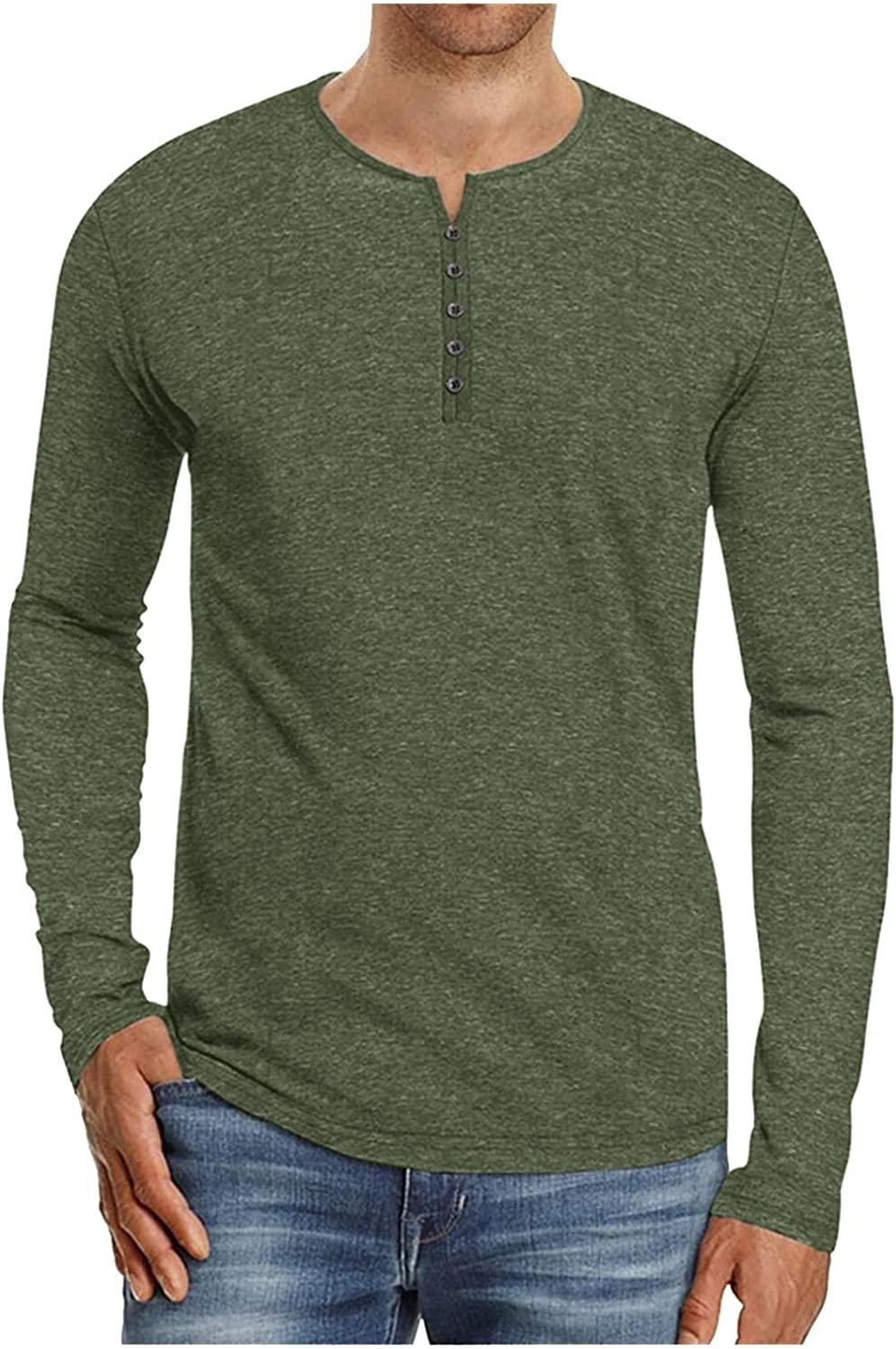 Long Sleeve Tee Shirts for Men Casual Mens Athletic Sweatshirt Sport Pullover Shirts Multi-button Sweater Hoodie
