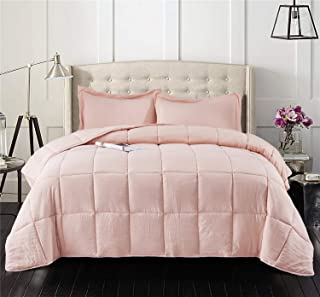 HIG Pre Washed Down Alternative Comforter Set Queen -Reversible Shabby Chic Quilt Desgin -Box Stitched with 4 Corner Tabs -Lightweight for All Season -Peach Pink Duvet Comforter with 2 Pillow Shams