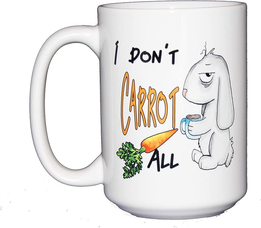 I Don T Carrot All Funny Punny Watercolor Bunny Rabbit Coffee Mug Large 15oz