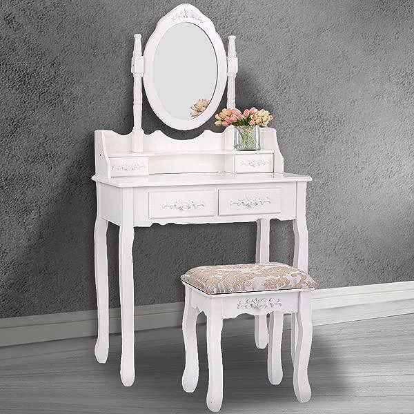 Tobbi White Vanity Wood Makeup Dressing Table Stool Set Bathroom Mirror 4 Drawer