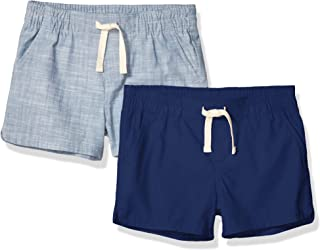 Amazon Essentials Girls' 2-Pack Pull-on Woven Shorts