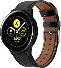 Compatible with Galaxy Watch Active Bands/Garmin Vivoactive 3 Band Leather,20mm Replacement Strap Band Compatible with Samsung Galaxy Watch Active 40mm /Ticwatch 2 Smartwatch (Black)