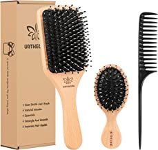 Boar Bristle Hair Brush and Comb Set for Women Men Kids, Best Natural Wooden Paddle Hairbrush and Small Travel Styling Bru...