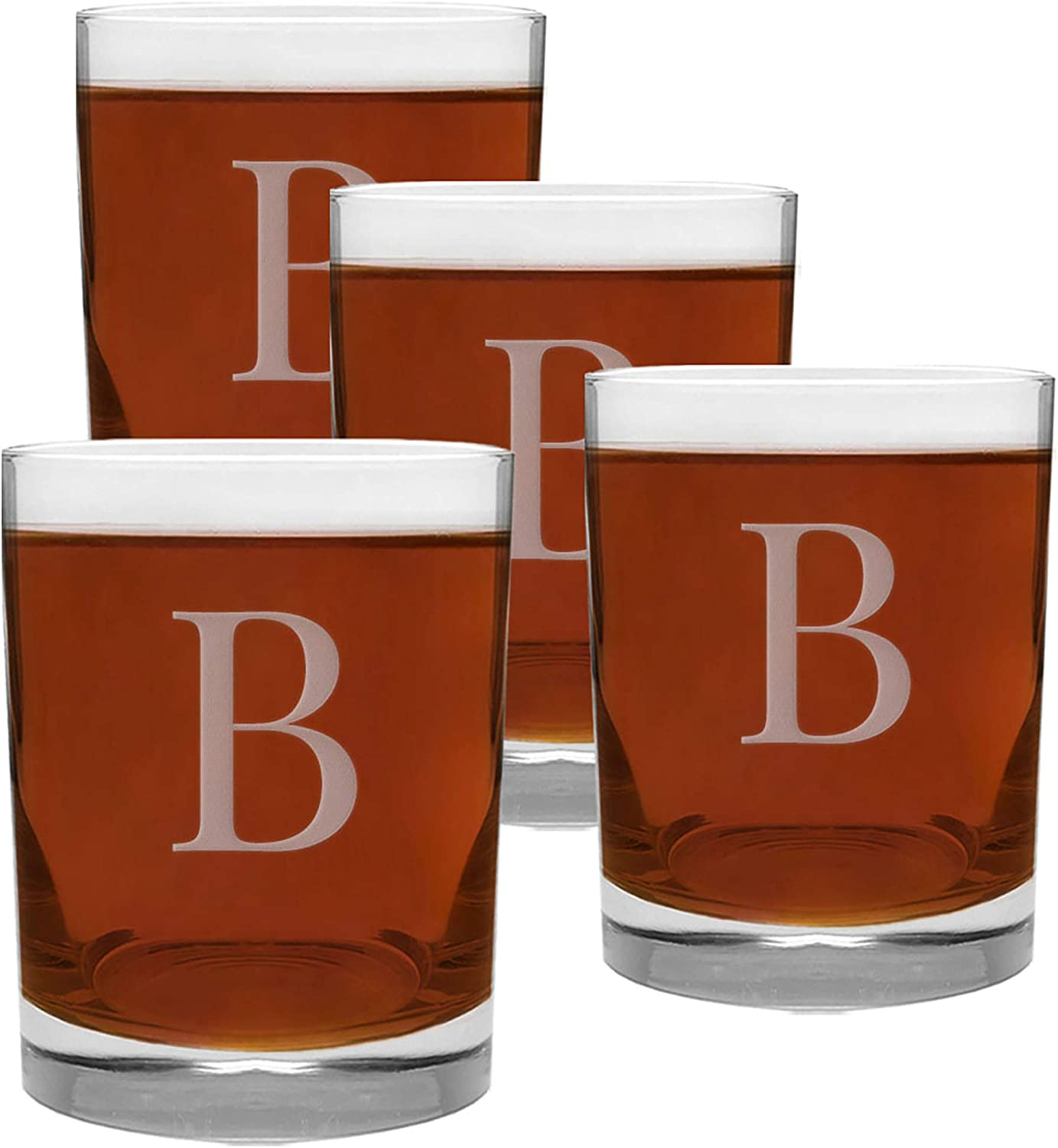 4 Discount is also underway Piece Glass Be super welcome Set Engraved B-Letter 13.5-Ounce Monogram with