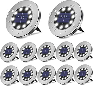 BROOM Solar Ground Lights (12 Packs), Solar Lights Outdoor Bright 10 LED Disk Lights Garden Waterproof Patio In-Ground Lig...