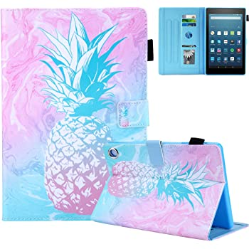 Fvimi All-New HD 8 Case 6th Generation 2016 Slim Fit Folio Stand Leather Cute Design Smart Cover with Auto Wake//Sleep Function for HD 8 8th Generation 2018 7th Generation 2017 Gold Pineapple