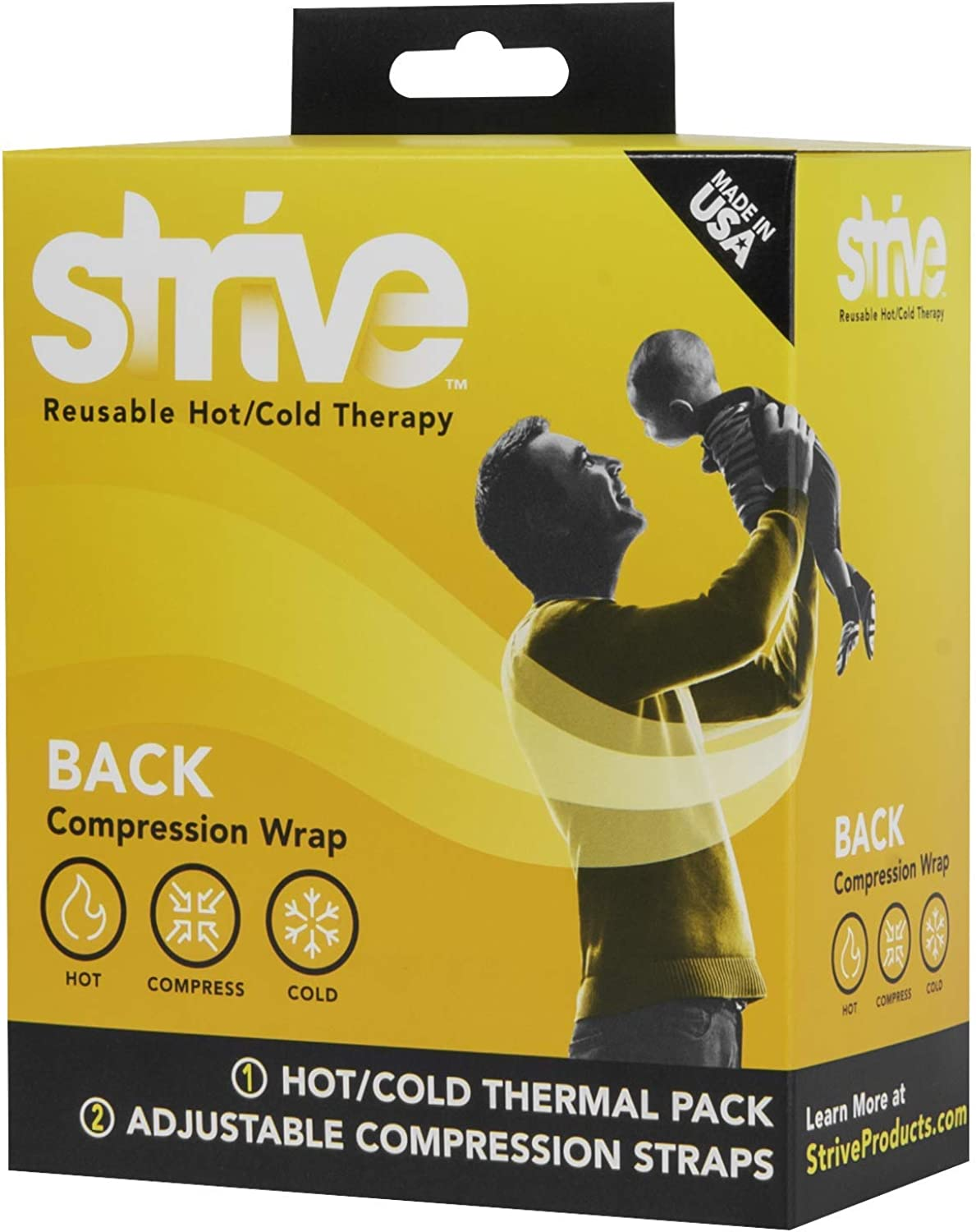 Strive Hot and Cold Compression Wrap   Reusable Gel Pack Therapy for Pain or Injury  Contours to Back with Adjustable Straps
