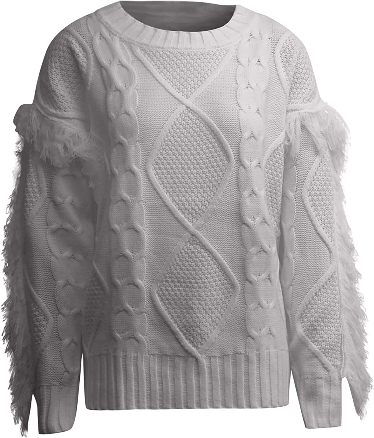 Women's Ribbed Fringe Knitwear Sweater Pullover Sexy Solid Long Sleeve Knitted Sweaters Jumper Blouse Tops