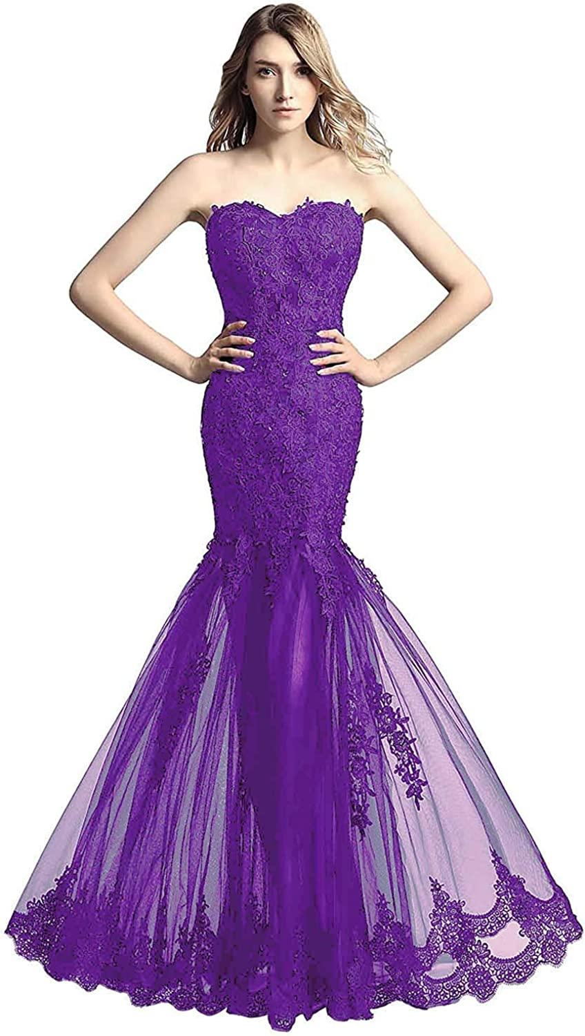 ANFF Women's Strapless Appliques Tulle Long Prom Gowns Mermaid Formal Evening Dresses
