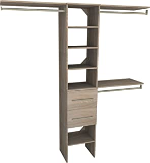 ClosetMaid 1936440 SuiteSymphony Modern 16-Inch Closet Organizer with Shelves and 2-Drawers, Natural Gray