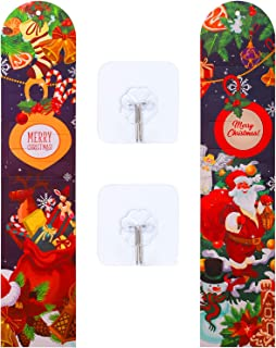 URATOT 2 Pack Christmas Card Holder Paper Christmas Card Photo on Wall or Door Display Kit with Transparent Self-Adhesive Hook