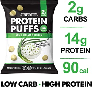 Shrewd Food Low Carb Keto Protein Puffs Sour Cream and Onion 8 Pack | 112g Protein (14g per Serving), 2g Carbs | High Protein, Gluten Free Snacks | No Artificial Flavors | Soy Free, Peanut Free