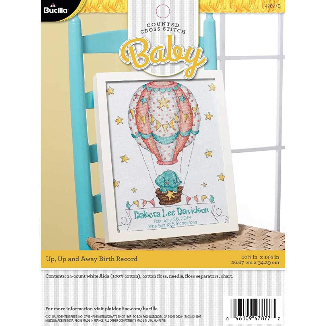 Bucilla 47877E Stamped Cross Stitch Baby Birth Record, Up Up and Away