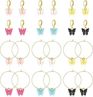 LOLIAS 12 Pairs Butterfly Drop Earrings for Women Thick Huggie Hoop Earrings with Gold-plated Charm Dangle Acrylic Colored...