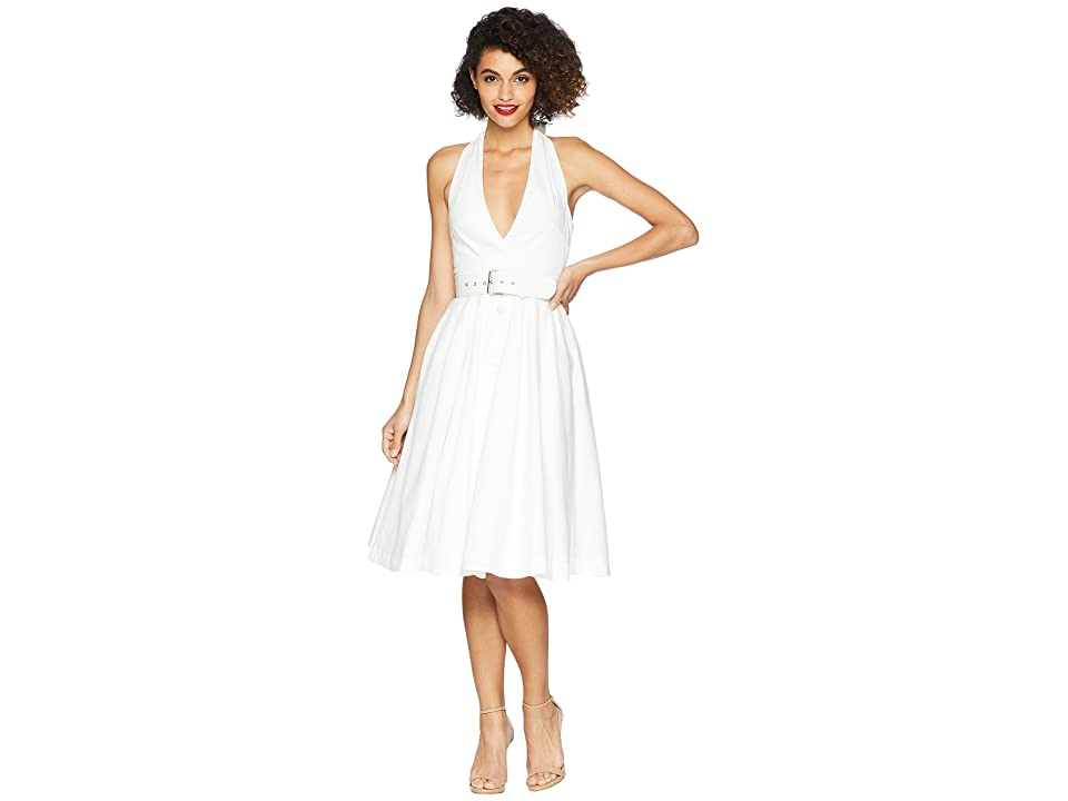 Unique Vintage Halter Tarrytown Hostess Dress (White) Women